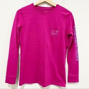 VINEYARD VINES Fuchsia Pink Long Sleeve Pocket Tee
